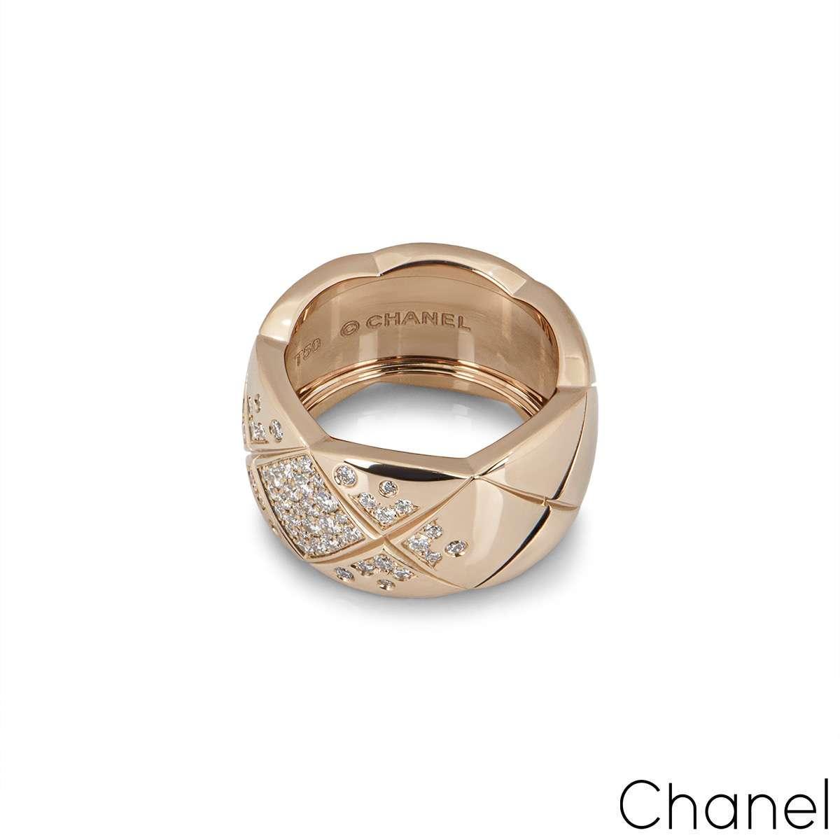 Chanel Beige / Rose Gold Diamond Coco Crush Ring J11100